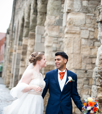 Ajay & Emma on their wedding day (© Rebecca Frost Photography)